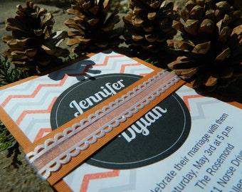 Handmade Orange/White wedding invitation