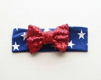Star headwrap red sparkly bow.
