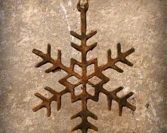 """Rustic Metal Snowflake 16"""""""