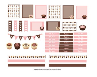 """Weekly planning stickers, """"Chocolate"""", box sizes 1.5""""x2.0"""" and 1.5""""x1.0"""".  Kiss cut, just peel and stick."""