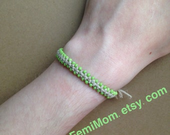 "6"" Hemp Bracelet with Lime Green Seed Beads"