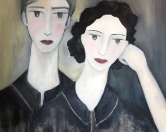 ORIGINAL paint, art, portrait, painting in oil, painted in France, hand-made, 100% made in France, she and he