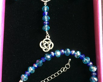 Blue and turquoise celtic pendant, bracelet and earrings set