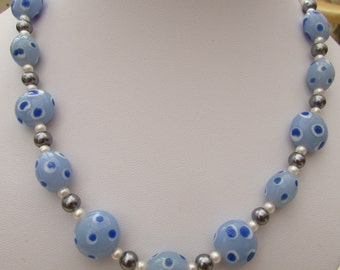 Blue spotty glass beaded necklace with pearlised beads