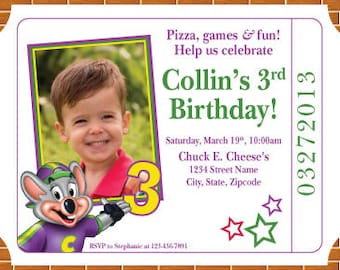 Chuck-E-Cheese Birthday Party Invitation! Digital File, Print at Home.