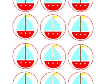 Edible Customizable Sailboat Cupcake Cookie Toppers
