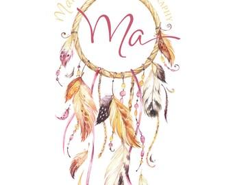 BOHO Dreamcatcher Photography full name hand written font Logo & matching Watermark, Feathers - customizable premade
