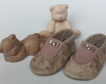 Cute handmade baby booties Brown pink gold