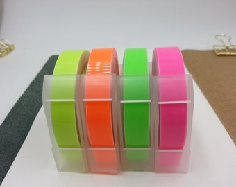 NEW Motex Neon 4 Color Embossing Label Maker Refill Tapes Set (9mm x 3m) -1pc