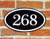 """Personalized Address House Number Sign Aluminum Oval 12"""" x 7"""" Custom Plaque"""