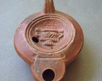 Roman Redware Pottery Oil Lamp with Vase Decoration, 1st - 2nd Century AD