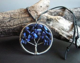 Lapis tree of life necklace