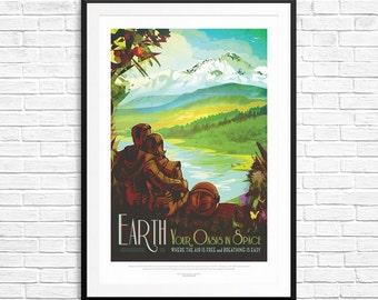 NASA Earth Poster, NASA Travel Posters, Nasa Exoplanet Posters, Nasa Exploration Posters, earth art, space exploration, solar system posters