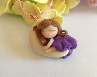 Necklace with Sleeping Girl Pendant