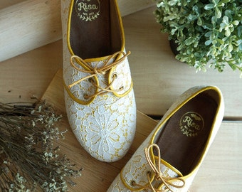 Love lace oxford shoes_Yellow