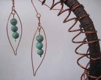 Earrings/Copper Leaf &Truquoise Beads