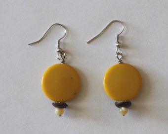Yellow Circle Earrings