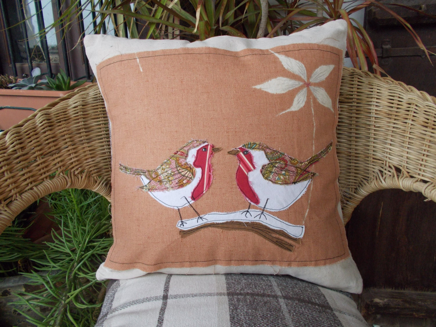 Robins Kitchen Garden City Robin Pillow Etsy