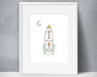 Boy Nursery Decor, Outer Space Nursery, Rocket Print, Space Nursery Decor, Kids Room Decor, Space Decor, Baby Boy Art, Space Theme Nursery