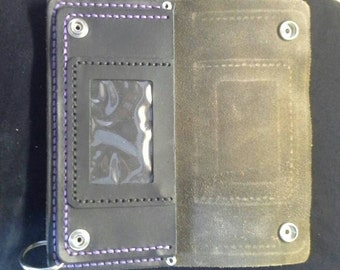 Handmade leather wallet black leather with purple stitches