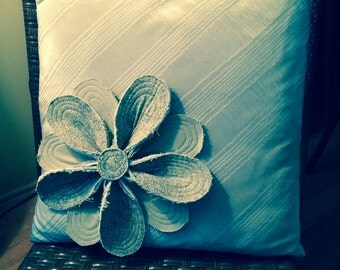 Moire Pillow with Ink Stamped Quilted Flower