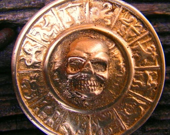 Zodiac skull, brass pendant