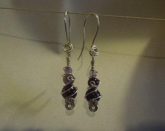 Amethysts knot earrings