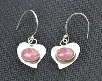 Silver Heart Earrings with Rhodochrosite