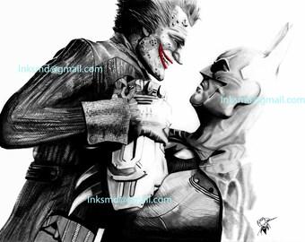 Batman Vs The Joker DC arkham games A3 print original done with pencil fanart