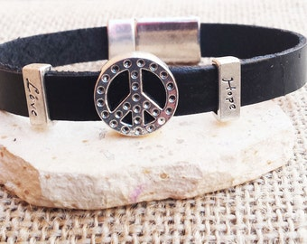 Peace Leather Bracelet, Men's Bracelet Men Leather Bracelet Hope Love Bracelet Gifts For Him Leather Cuff Leather Bangle