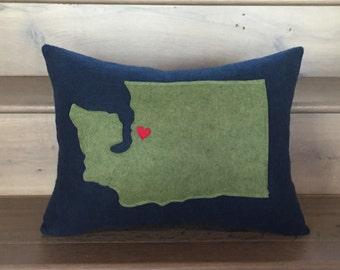 CASCADIA Felt Washington State Love Pillow