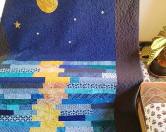 Moonreflection quilt Homemade quilt Night Sky Quilt Patchwork quilt Gift for men Modern quilt Quilt sale Blue throw Wedding gift Moon quilt