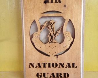 Air National Guard scroll sawed Plaque