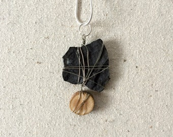 Rock & wood pendant- Natural materials- Rustic pendant- Boho necklace- Neutral colors