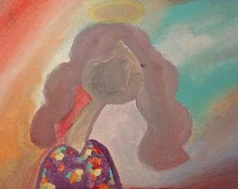 angel, Original Art Painting, Faceless, Halo, Christian, Jesus love, Acrylic on Canvas, 10 x 8