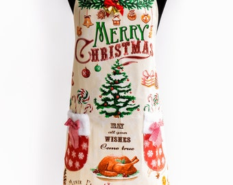 Apron Merry  Christmas By Kitchen-chic