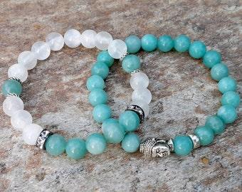Meditation Yoga Bracelet Stacks Buddha Bracelet Mala Bracelet Set Throat Chakra Green Amazonite Bracelet