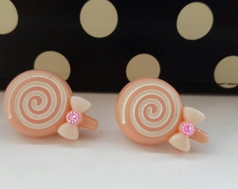 Pink Swirl Lollipop Stud Earrings