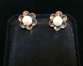 Pearl Flower Screw Back Earrings