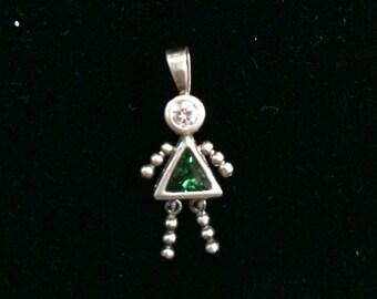 Green Birthstone Girl Sterling Silver Pendant