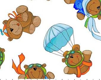 Northcott - Baby Zoom - Flying High - Teddy Bear - White Parachute Teddy Fabric