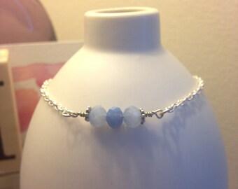 Lavender Quartz & Chain Bracelet