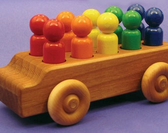North Star Toys Rainbow People Mover - Handmade Wooden Toy Bus