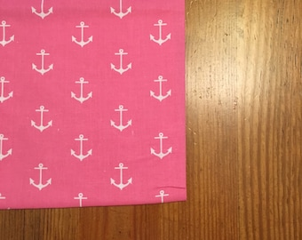Pillowcase - Pink and White Anchor Print
