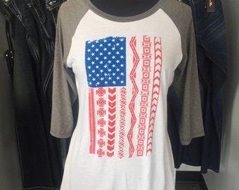 American Flag - Baseball T-Shirt