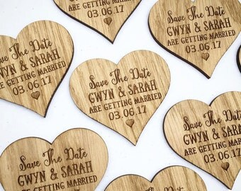Save The Date Magnets - Personalised Wedding Save The Date Wooden Oak Hearts - Custom Rustic Wood Save the Date Magnets  03STD