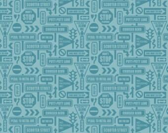 Riley Blake Designs Cruiser Blvd Signs Blue by Sheri McCulley C 63224 Fat Quarter