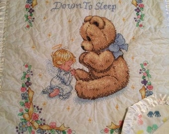 Beautiful Hand Cross Stitched baby blanket