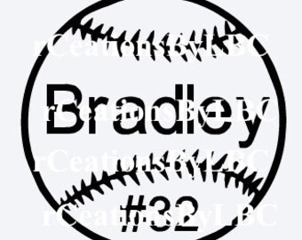 Softball/Baseball Vinyl Decal with Name & Number