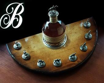 LARGE size Blanton's bourbon bottle cork stopper solid wood display horseshoe blantons (similar to half barrel head size) get personalized